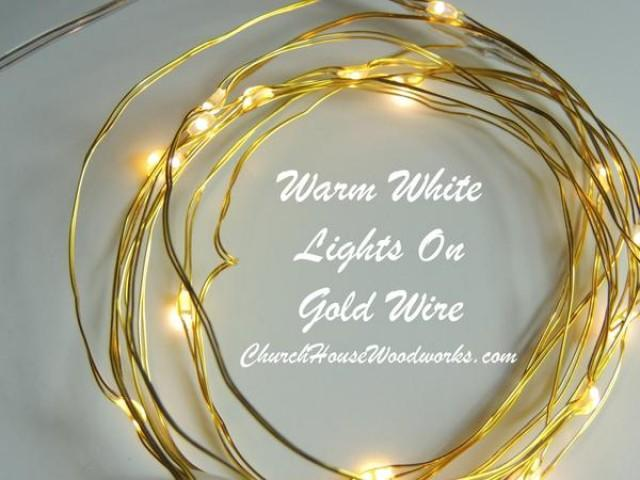 wedding photo - Warm White On Gold Wire Battery Fairy Lights LED Battery Operated Rustic Wedding Lights Bedroom Lights