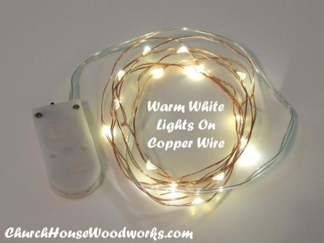 wedding photo - Warm White On Copper Wire Battery Fairy Lights - LED Rustic Wedding Lights