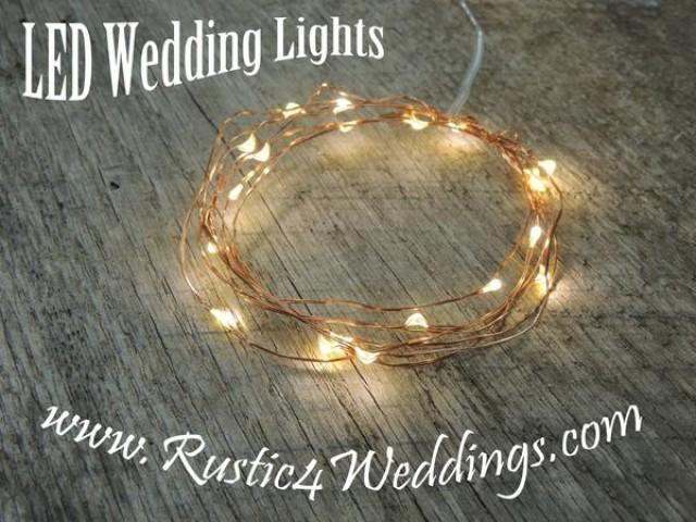 wedding photo - 5 Sets Battery Fairy Lights - Warm White on Copper Wire LED Rustic Wedding Lights