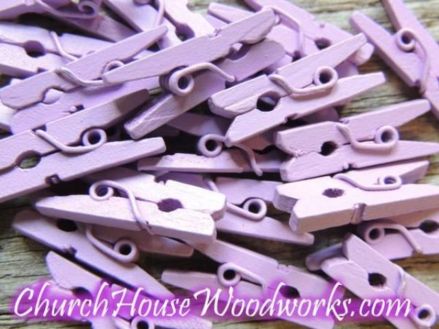 wedding photo - Pack of 100 Mini Lilac Purple Clothespins