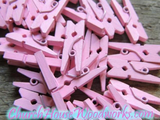 wedding photo - Pack of 100 Mini Pink Clothespins