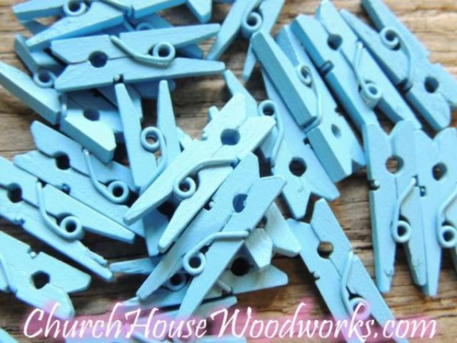 wedding photo - Pack of 100 Mini Light Blue Clothespins