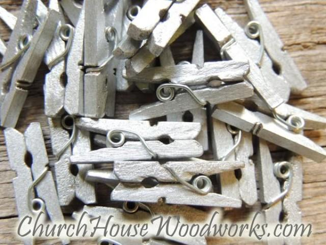 wedding photo - Pack of 100 Mini Silver Clothespins