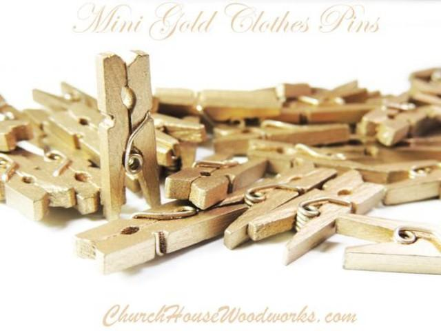 wedding photo - Pack of 100 Mini Gold Clothespins