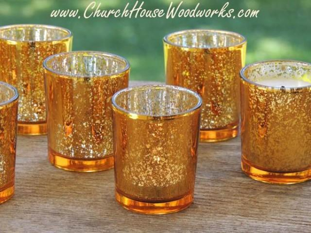 wedding photo - 12 Gold Mercury Glass Votive Holders