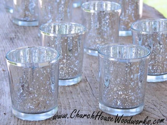 wedding photo - 12 Silver Mercury Glass Votive Holders