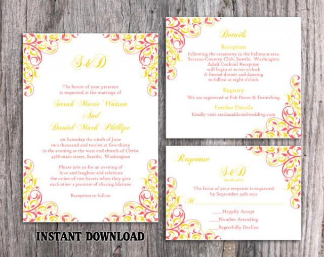wedding photo - Wedding Invitation Template Download Printable Wedding Invitation Editable Coral Invitations Elegant Pink Invitations Yellow Invites DIY - $15.90 USD