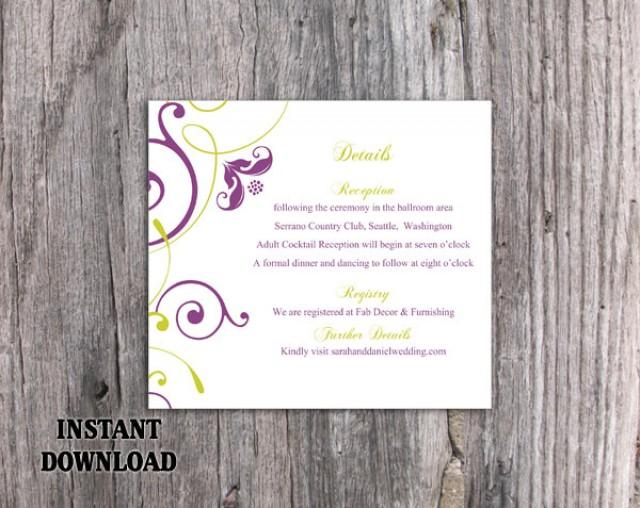 wedding photo - DIY Wedding Details Card Template Download Printable Wedding Details Card Editable Green Purple Details Card Elegant Enclosure Cards Party - $6.90 USD
