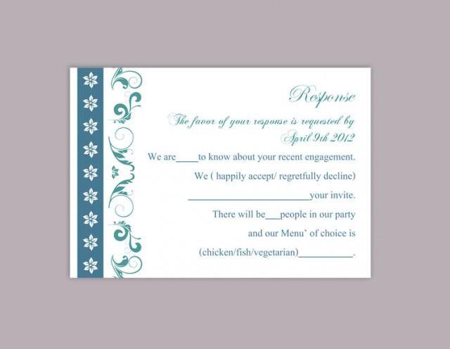 wedding photo - DIY Wedding RSVP Template Editable Word File Instant Download Rsvp Template Printable RSVP Cards Teal Blue Rsvp Card Elegant Rsvp Card - $6.90 USD