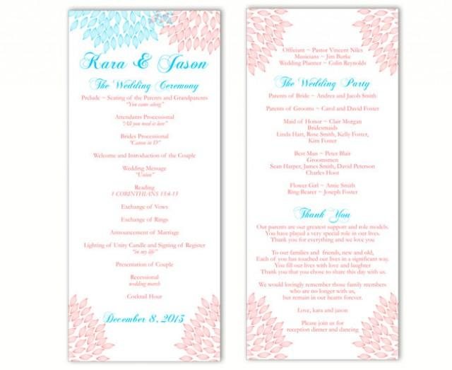 wedding photo - Wedding Program Template DIY Editable Word File Instant Download Program Blue Pink Wedding Program Floral Program Printable Program 4x9.25 - $8.00 USD
