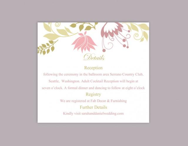 wedding photo - DIY Wedding Details Card Template Download Printable Wedding Details Card Editable Pink Details Card Floral Boho Information Cards Elegant - $6.90 USD