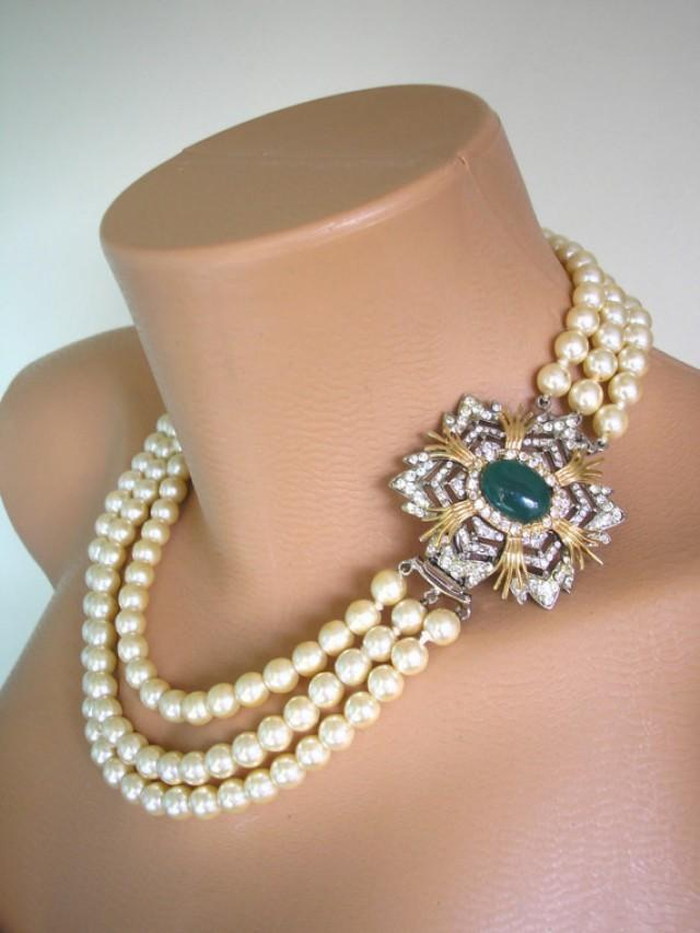 wedding photo - Pearl Necklace, BIJOUX CASCIO Jewelry, Statement Necklace, Mother of the Bride, Pearl Choker, Wedding Necklace, Bridal Jewelry, 3 Strand