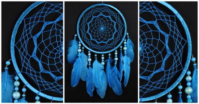 wedding photo - Dreamcatcher Blue Dream Catcher Large Dreamcatcher Dream сatcher gift dreamcatcher boho dreamcatcher wall handmade gift blue Valentine's Day