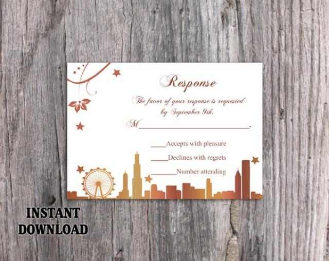 wedding photo - DIY Wedding RSVP Template Editable Word File Download Rsvp Template Printable RSVP Card Chicago Skyline Rsvp Card Template Elegant Rsvp Card - $6.90 USD