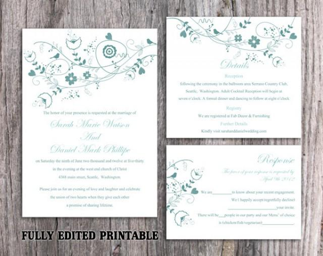 wedding photo - Printable Wedding Invitation Suite Printable Invitation Floral Bird Wedding Invitation Blue Invitation Download Invitation Edited PDF file - $13.00 USD