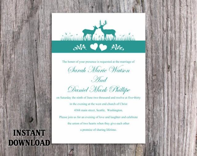 wedding photo - Wedding Invitation Template Download Printable Wedding Invitation Editable Reindeer Invitation Teal Wedding Invitations Blue Invitations DIY - $6.90 USD