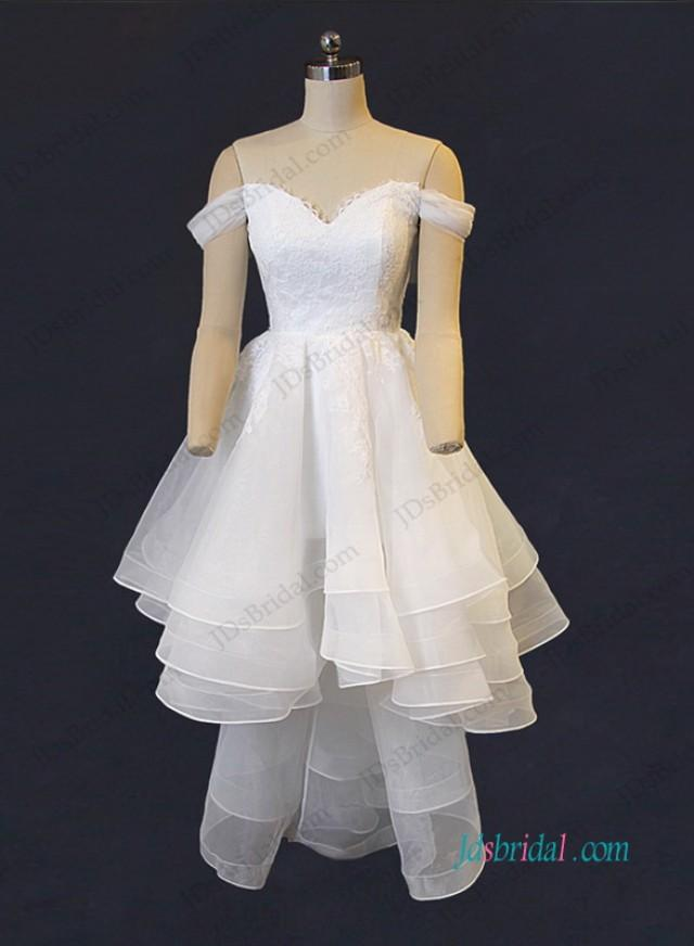 wedding photo - Lovely sweetheart neckline tiered organza high low wedding dress