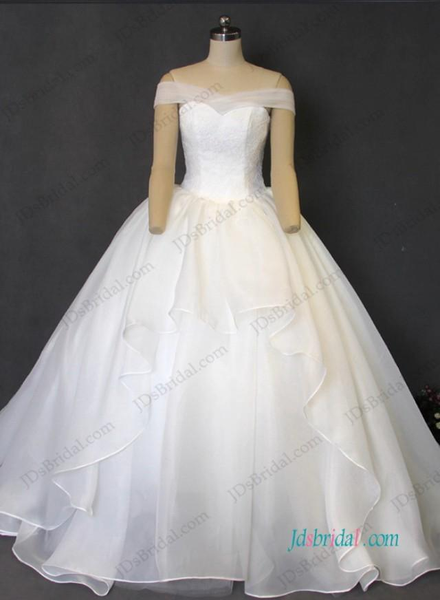 wedding photo - H1211 Elegant organza ball gown wedding dress with off shoulder