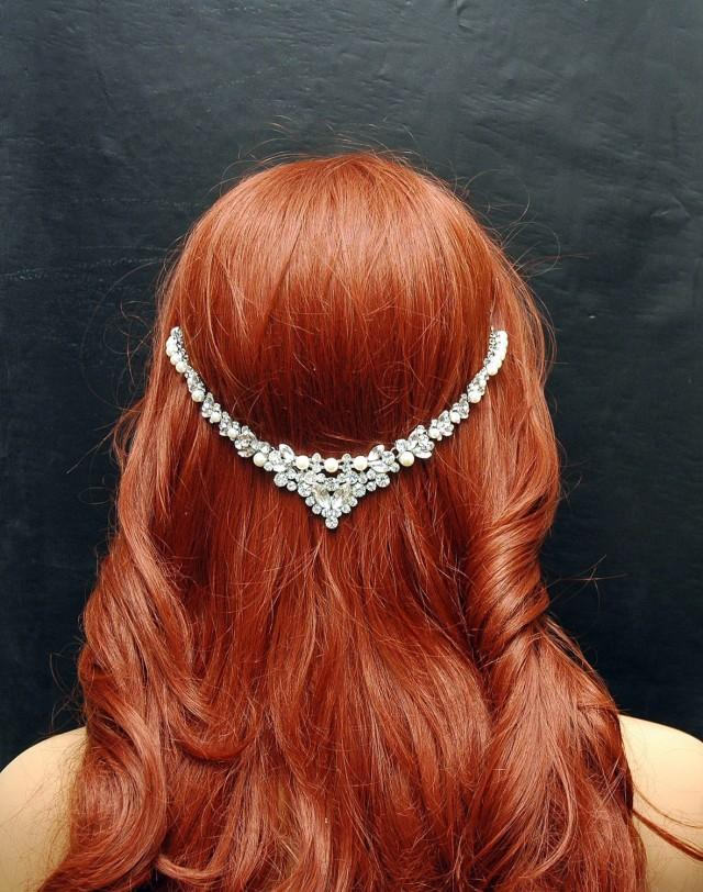 wedding photo - Wedding Pearl Headpiece, Beach Wedding Headband, Wedding Hair Accessories, Bohemian Hair Jewelry, Pearl Headpiece, Prom, Bridal Hair Jewelry - $55.00 USD