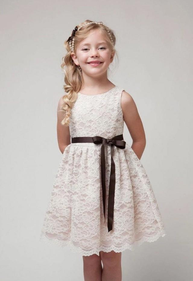 wedding photo - Lace Flower Girl Dress with Ribbon (2T-12)