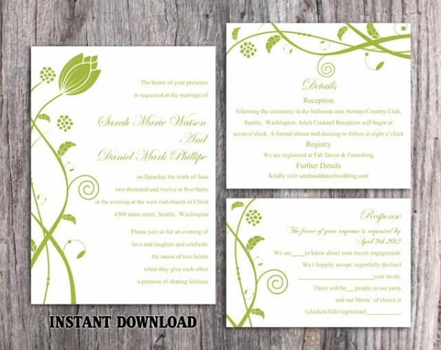wedding photo - DIY Wedding Invitation Template Set Editable Word File Instant Download Printable Invitations Green Wedding Invitations Flower Invitation - $15.90 USD