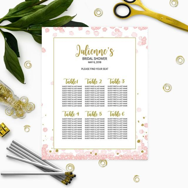 wedding photo - Pink and Gold Bridal Shower Seating Chart-Personalized Floral Bridal Shower Table Seating Sign-DIY Printable Table Plan For Bridal Shower - $7.50 USD