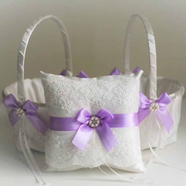wedding photo - Violet Wedding Bearer Pillow  Violet Flower Girl Basket  Wedding Ring Holder  Lace Wedding Basket  Purple Wedding Basket Pillow Set - $28.00 USD