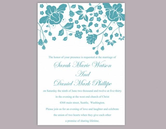 wedding photo - Wedding Invitation Template Download Printable Invitations Editable Floral Boho Wedding Invitation Teal Invitation Blue Invitations DIY - $6.90 USD