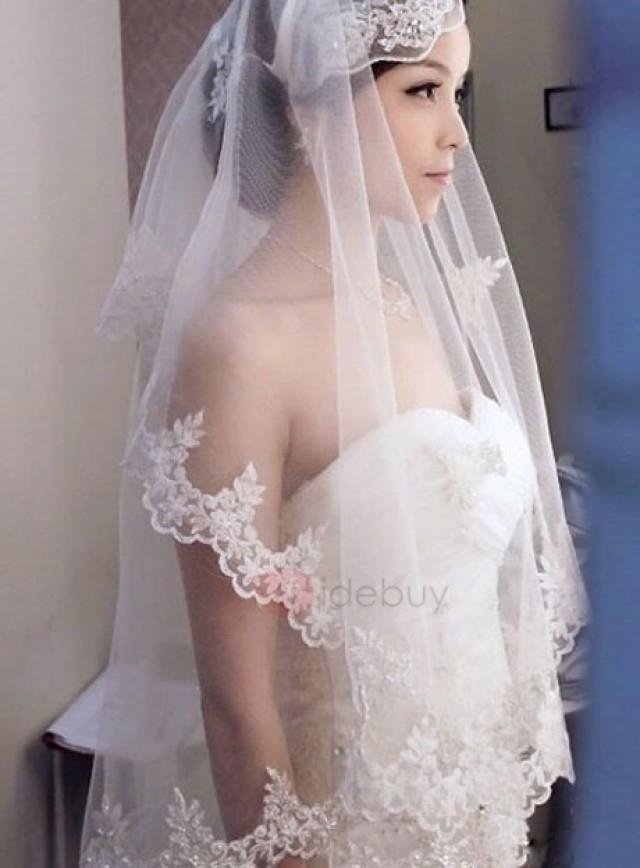 wedding photo - Dramatic Waltz Length White Tulle Wedding Veil with Appliques Edge