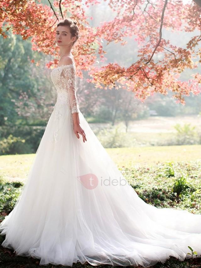 wedding photo - Charming Appliques Off The Shoulder A Line Long Sleeves Wedding Dress