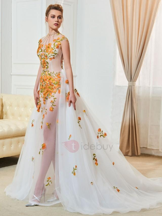wedding photo - Sexy High Neck Cap Sleeve Appliques Beading Wedding Dress
