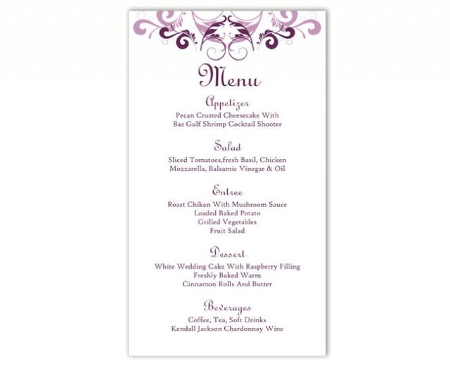 wedding photo - Wedding Menu Template DIY Menu Card Template Editable Text Word File Instant Download Purple Menu Eggplant Menu Card Printable Menu 4x7inch - $6.90 USD