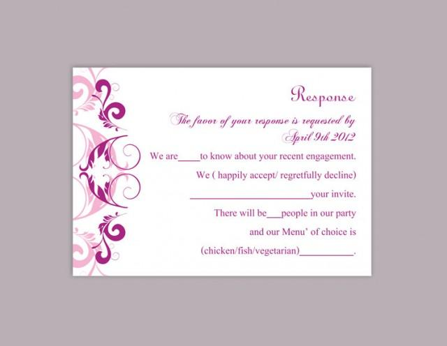 wedding photo - DIY Wedding RSVP Template Editable Word File Instant Download Rsvp Template Printable RSVP Cards Purple Lilac Rsvp Card Elegant Rsvp Card - $6.90 USD