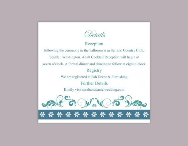 wedding photo - DIY Wedding Details Card Template Download Printable Wedding Details Card Editable Teal Blue Details Card Elegant Floral Information Cards - $6.90 USD