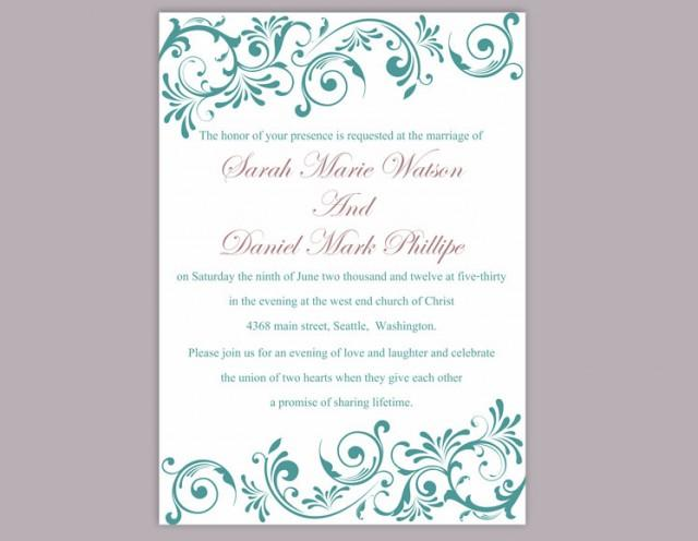 wedding photo - Wedding Invitation Template Download Printable Wedding Invitation Editable Invitation Elegant Teal Wedding Invitation Blue Invitations DIY - $6.90 USD