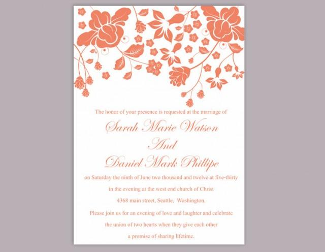 wedding photo - Wedding Invitation Template Download Printable Invitations Boho Wedding Invitation Editable Floral Invitation Orange Invitation Flower DIY - $6.90 USD