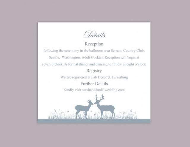 wedding photo - DIY Wedding Details Card Template Download Printable Wedding Details Card Reindeer Editable Gray Silver Details Card Information Cards Party - $6.90 USD