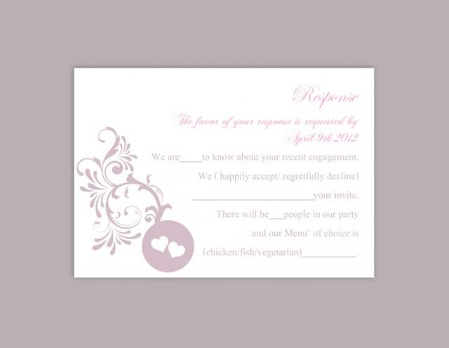 wedding photo - DIY Wedding RSVP Template Editable Word File Instant Download Rsvp Template Printable RSVP Cards Lavender Lilac Rsvp Card Elegant Rsvp Card - $6.90 USD