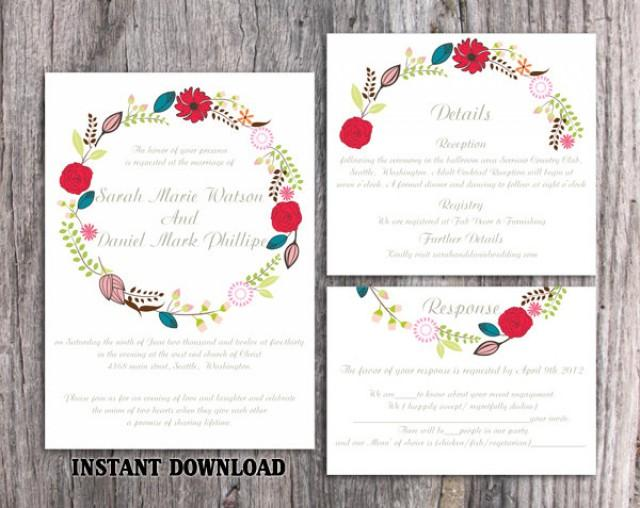 wedding photo - Wedding Invitation Template Download Printable Invitations Editable Boho Wedding Invitation Wreath Wedding Invitation Floral Invitation DIY - $15.90 USD