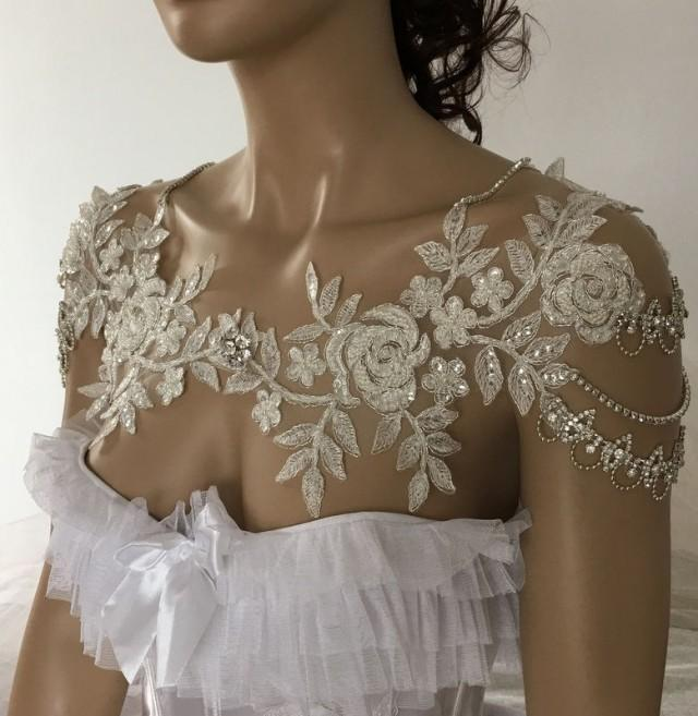 wedding photo - Bridal Dress Shoulder Necklace, Rhinestone Lace Shoulder Necklace, Wedding Shoulder Jewelry, Bridal Ivory Lace Shoulder Bridal Straps - $110.00 USD