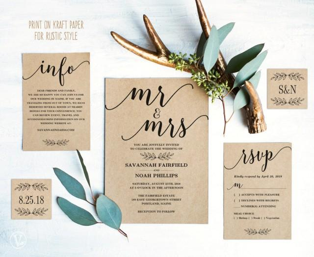 Modern Calligraphy Wedding Invitation, Printable Wedding Invitation Template,  Simple Wedding Invitations, Editable Text, Mr Mrs VW10 #2686247   Weddbook  Editable Leaf Template