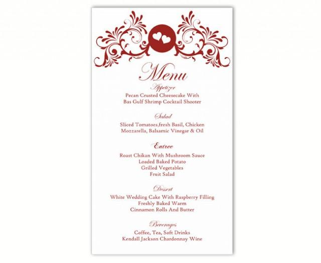 wedding photo - Wedding Menu Template DIY Menu Card Template Editable Text Word File Instant Download Wine Red Menu Heart Menu Card Printable Menu 4x7inch - $6.90 USD