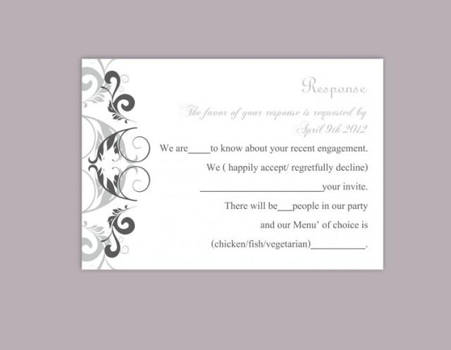 wedding photo - DIY Wedding RSVP Template Editable Word File Instant Download Rsvp Template Printable RSVP Cards Gray Silver Rsvp Card Elegant Rsvp Card - $6.90 USD