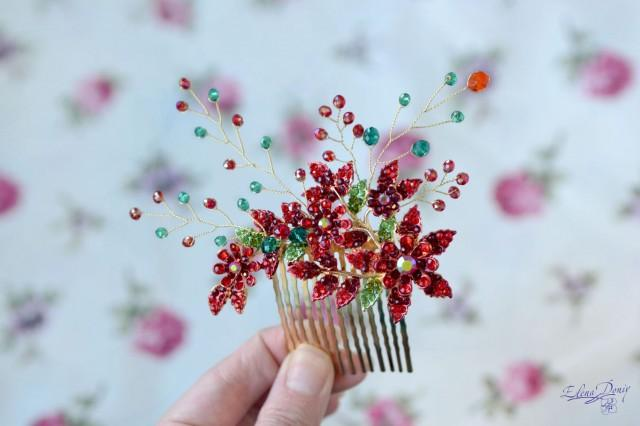 wedding photo - Red bridal comb hair green red head piece back Crystal hair vine red flower vine wedding hair comb red wedding - $35.00 USD