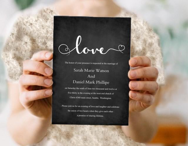 wedding photo - Wedding Invitation Template Download Printable Invitations Editable Chalkboard Wedding Invitation Black & White Heart Invitation Love Invite - $8.90 USD