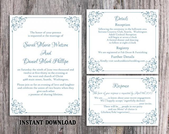 wedding photo - Wedding Invitation Template Download Printable Wedding Invitation Editable Invitation Blue Invitation Elegant Floral Wedding Invitation DIY - $15.90 USD