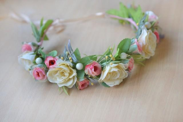 wedding photo - Bridal crown ivory pink floral crown wedding Flower girl halo roses hair wreath Ivory flower headband Ready to ship crown - $39.00 USD