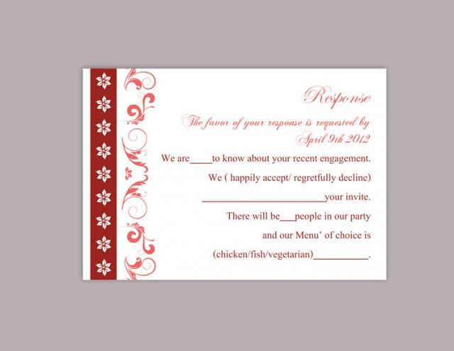 wedding photo - DIY Wedding RSVP Template Editable Word File Instant Download Rsvp Template Printable RSVP Cards Wine Red Rsvp Card Elegant Rsvp Card - $6.90 USD