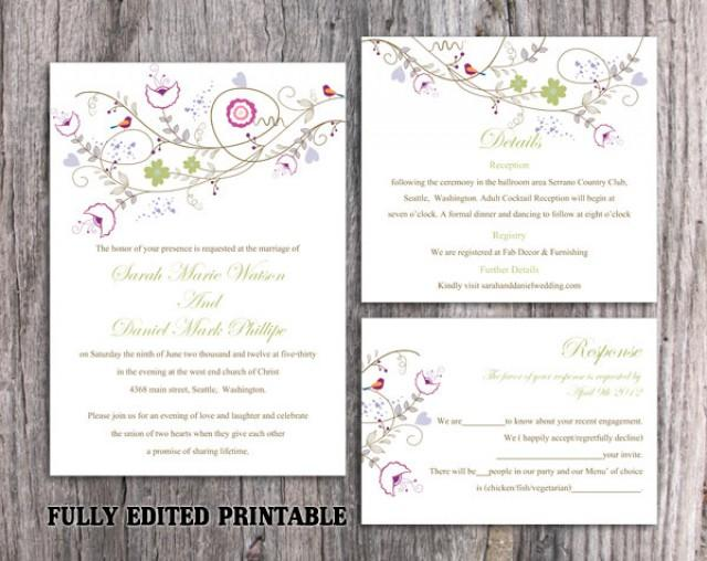 wedding photo - Printable Wedding Invitation Suite Printable Invitation Set Colorful Wedding Invitation Bird Invitation Download Invitation Edited PDF - $13.00 USD