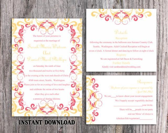 wedding photo - Wedding Invitation Template Download Printable Wedding Invitation Editable Invites Elegant Pink Invitations Yellow Wedding Invitations DIY - $15.90 USD